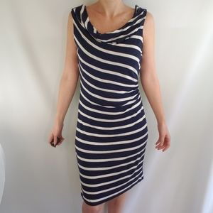 Ann Taylor Blue Navy White Stripes Dress S…